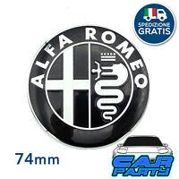 Stemma ALFA ROMEO GIULIETTA MITO 147 156 159 Logo Anteriore Posteriore NERO 74mm
