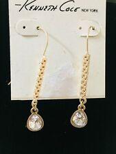 Gold Tone Clear Teardrop Crystal Drop Kenneth Cole New York Designer Earrings