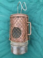 Used vintage brass & steel cage industrial car garage sump heater lamp