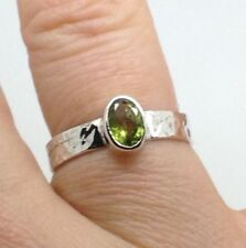 Peridot Solitaire Sterling Silver Fine Rings