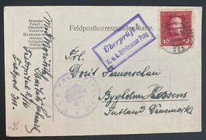 1916 Austria KUK Feldpost 311 Postcard Cover To Bygholm