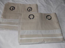Beige, part stripe, good quality cotton, eyelet curtains. Each 62''w x 53''L. VG