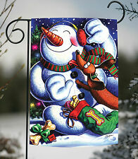 New Toland - Snowman's Best Friend - Colorful Winter Puppy Dog Gift Garden Flag