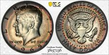 1965 KENNEDY HALF DOLLAR PCGS SP65 SMS SILVER RAINBOW COLOR TONED PRIME (MR)