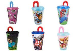 Kinder Trinkbecher mit Mehrweg Strohhalm | Tasse + Deckel | BPA frei