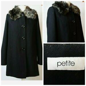 BHS Petite Fur Collar 34% Wool Winter Smart Black Long Sleeve Midi Coat 12 A006