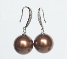 Beautiful 12mm round south sea chocolate shell pearls silver hook Earrings