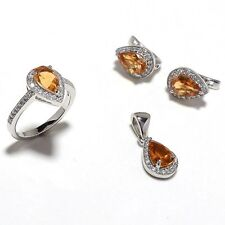 925 Sterling Silver Faceted Citrine & Cz Gem Stones 4 Piece Sets Jewelery