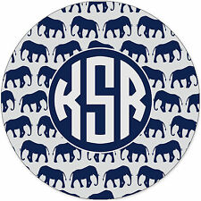 Monogrammed Mouse Pad - Navy Elephants Personalized Gift Monogram