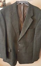 Alexandre London Savile Row Wool Olive Green Plaid 2-Button Sport Coat 44L