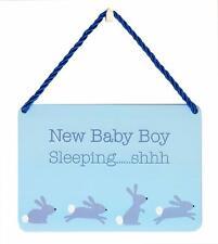 Baby Boy Gift - Shaped Tin Plaque - New Baby Boy Sleeping  PA006