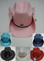 Colored Straw Cowboy Hat Cowgirl Western Hat w/ Jewel + Snaps + Chin Strap