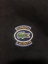 Men's Supreme Lacoste Pullover Hoodie L Black 100% Cotton 100% Authentic