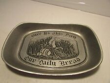 """Pewter Dish """"Give Us This Day Our Daily Bread"""" Wheat Plate -Wilton Pewter"""