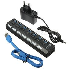 7 Port USB 3.0 HUB High Speed On/Off Switch &EU Plug Power Adapter For PC Laptop