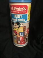 Vintage 1974 Playskool Disney Wood Blocks | Complete Set of 16 Letters, Numbers
