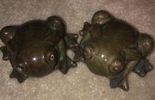Green Sparkle Glazed Ceramic Frog Figurines Lot of 2