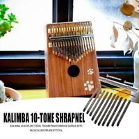 10 Keys Butterfly Kalimba Thumb Piano Mbira Solid Wood Blue Xmas Gift Toy Set