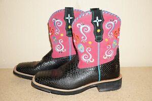 Ariat Women's Boots (Style: 10006761) Pink & Black, Skulls, (Size: 8.5 B)