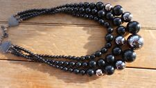STATEMENT BLACK & SILVER COATED SMALL TO LARGE PEARLS, 3 STRING BEAUTY