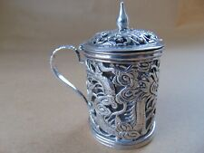 More details for gorgeous antique chinese silver pierced dragons mustard pot and glass liner