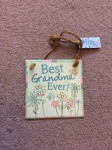 Shabby Chic Style Small Best Grandma Ever Metal Hanging Sign