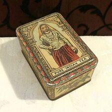Small Tiny Antique Pure Indian Tea Tin Box England Rare Sample Size Art Nouveau