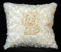 New Embroidered Soft Fuzzy White Baby Lion Pillow 12 x 12 in insert