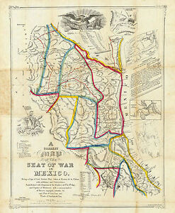 """1847 Map Seat Of War In Mexico 11""""x14"""" Wall Art Poster Print Decor History"""