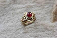 Tibetan 3-Color copper Multi Strands Braided Garnet Gemstone Dotted Amulet Ring