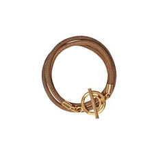Nikki Lissoni Leather Bracelet Beige with Gold Clasp BLCG05 19cm