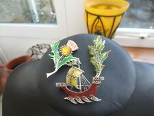 brooches enamel/diamante Scottish thistle/ship/leaf 3 beautiful Art Deco