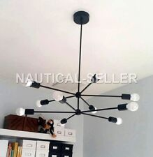 10 ARM Mid Century MODERN ATOMIC Black SPUTNIK BRASS CHANDELIER LIGHT