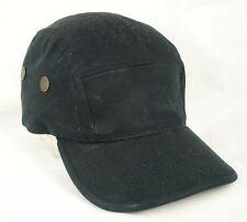 K & B Ethos Black 5 Panel Cap Hat Leather Strap GUC