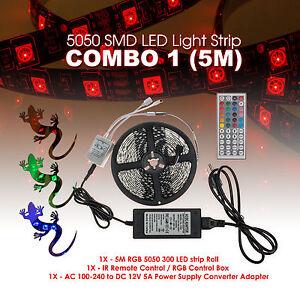 5M 5050SMD RGB 300 LED Strip Light Kit w/ 44 Key Remote 2 Outlet 5A Power Combo