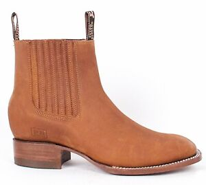 Men's Potro Rebelde Genuine Crazy Suede Leather Casual Ankle Boots Square Toe