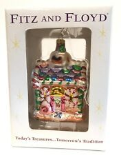 Fitz and Floyd Blown Glass Gingerbread House Christmas Ornament Iob