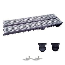 2m Entwässerungsrinne mit Dichtung A15 Grau-Line (Tiefe:100mm) komplett SET