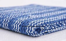 Indigo Kantha Quilt 100%Cotton Indian Bedspread Throw Blanket Twin Bohemian Deco
