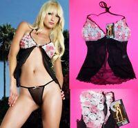 NWT Leg Avenue Mesh Roses Babydoll and G-string Panties SET, Plus Size