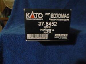 KATO HO SCALE #37-6452 EMD SD70MAC w/NOSE HEADLIGHT BNSF HERITAGE l l   #9959