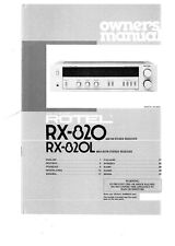 Rotel RX-820L Receiver Owners Instruction Manual