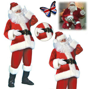 Christmas Santa Claus Suit Cosplay Fancy Dress Costume Father Adult Xmas Outfit