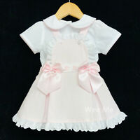 New Arrival Gorgeous Baby Girl Spanish Pink Brace Skirt Shirt Suit Satin Bow