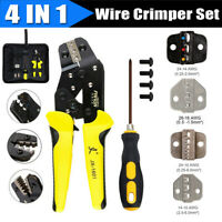 Wire Crimpers Tool Kit Engineering Ratchet Terminal Crimping Pliers Set w/3 Dies