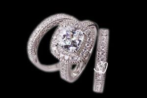 3pcs Cushion Cut 925 Sterling Silver Wedding Band Engagement Ring Set 5-10