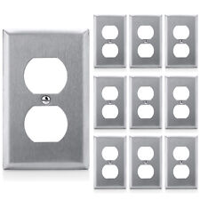 10 Pack Duplex Receptacle Metal Wall Plate 1-Gang Stainless Steel Outlet Cover