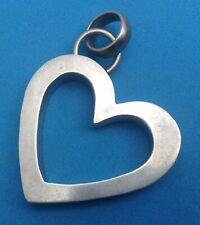 Form of Heart Pendant Striking Large Taxco Sterling Silver 925 Slanted Outline