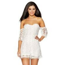 6ebd3a1a6bf6 Quiz White Crochet Bardot Playsuit Size UK 14 Lf180 OO 23