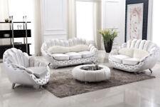 Italienische Luxus Couchgarnitur extravagant in weiß Stoff und Leder